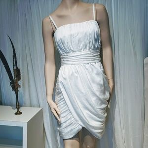 NWT H&M conscience winter white ruched dress